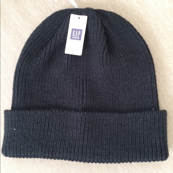 NWT Gap Factory men s black ribbed knit hat 3a514caee8e